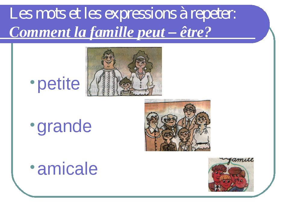 Les mots et les expressions à repeter: Comment la famille peut – être? petite...