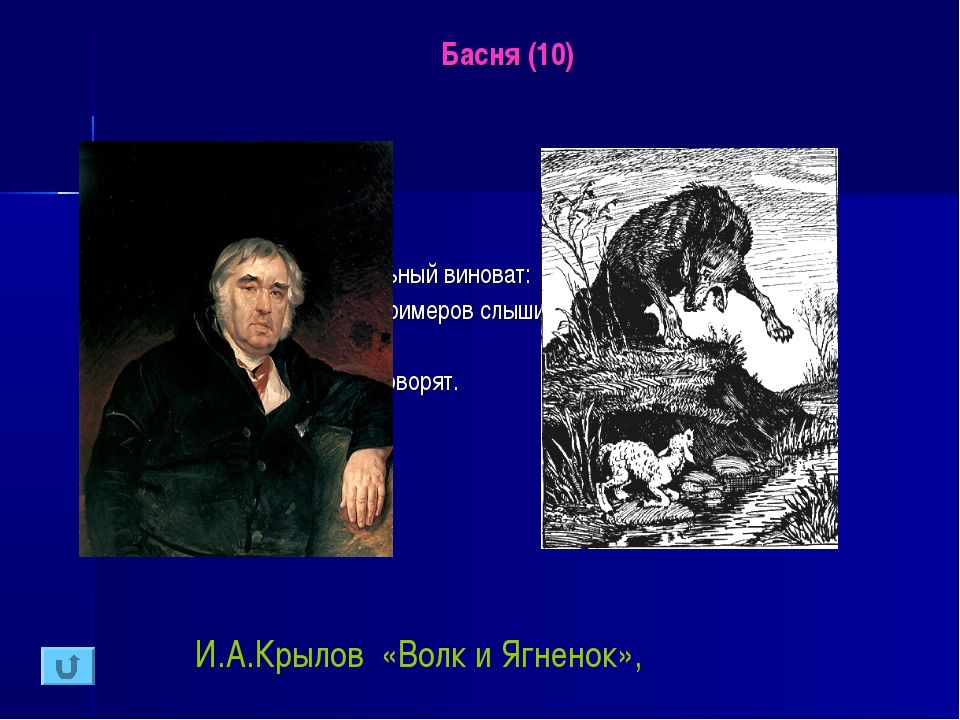 Басня (10) Узнайте басню: У сильного всегда бессильный виноват: Тому в Истори...