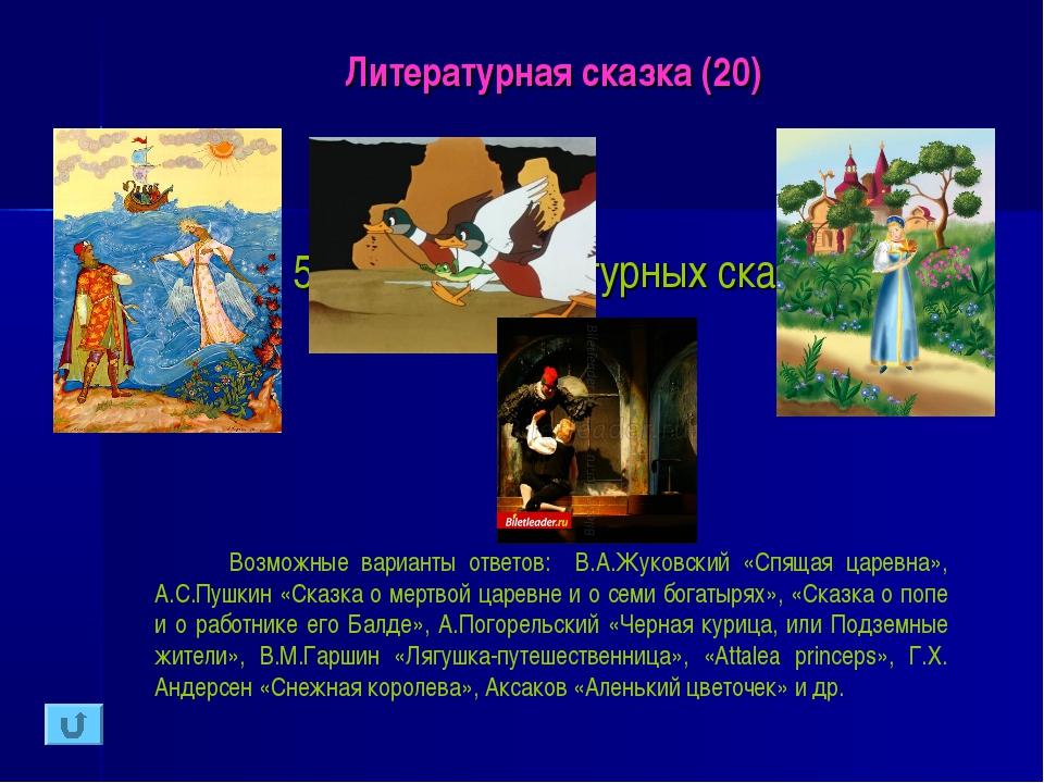 Литературная сказка (20) Назовите 5 любых литературных сказок и их авторов. В...