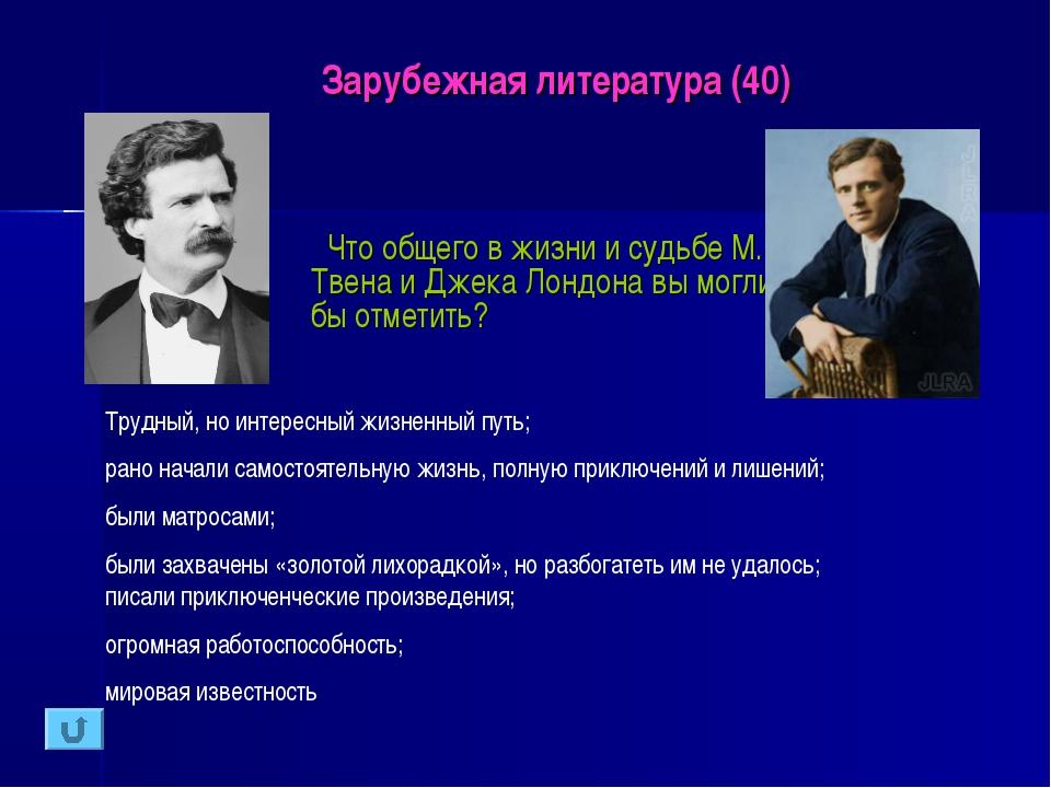 Зарубежная литература (40) Что общего в жизни и судьбе М. Твена и Джека Лондо...