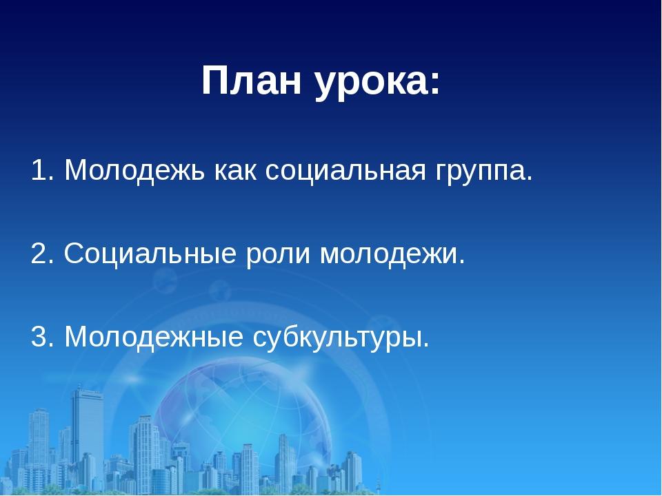 План урока: 1. Молодежь как социальная группа. 2. Социальные роли молодежи. 3...