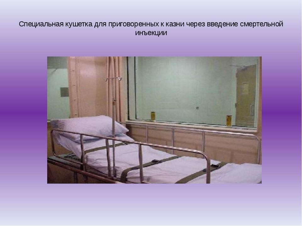 Специальная кушетка для приговоренных к казни через введение смертельной инъ...