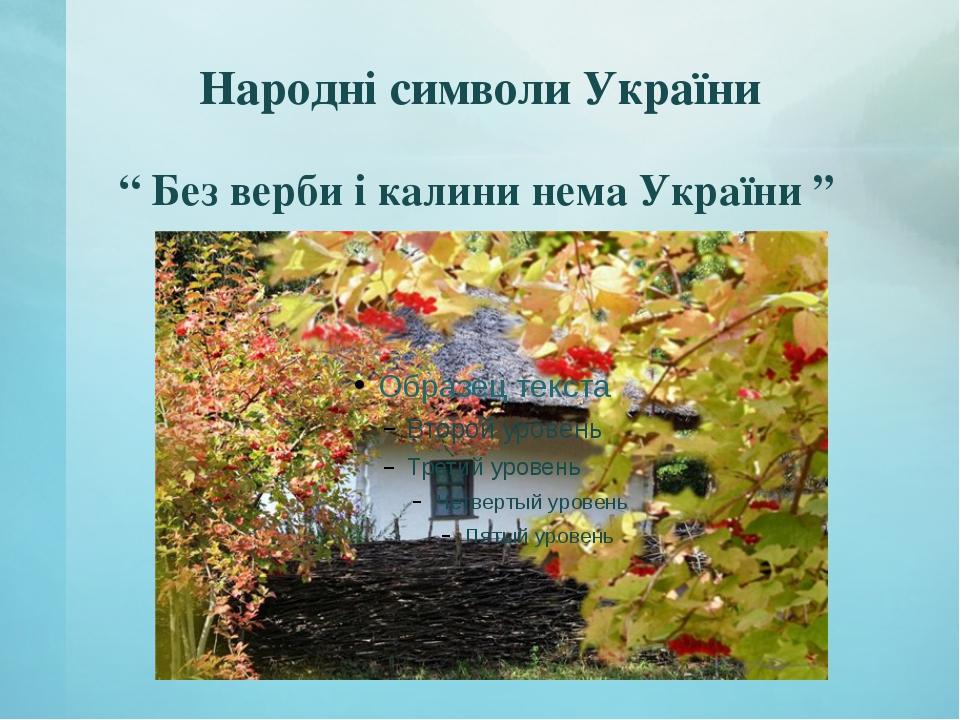 """Народні символи України """" Без верби і калини нема України """""""