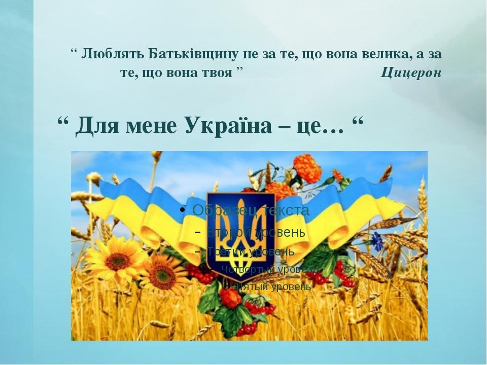 """"""" Люблять Батьківщину не за те, що вона велика, а за те, що вона твоя """" Цицер..."""