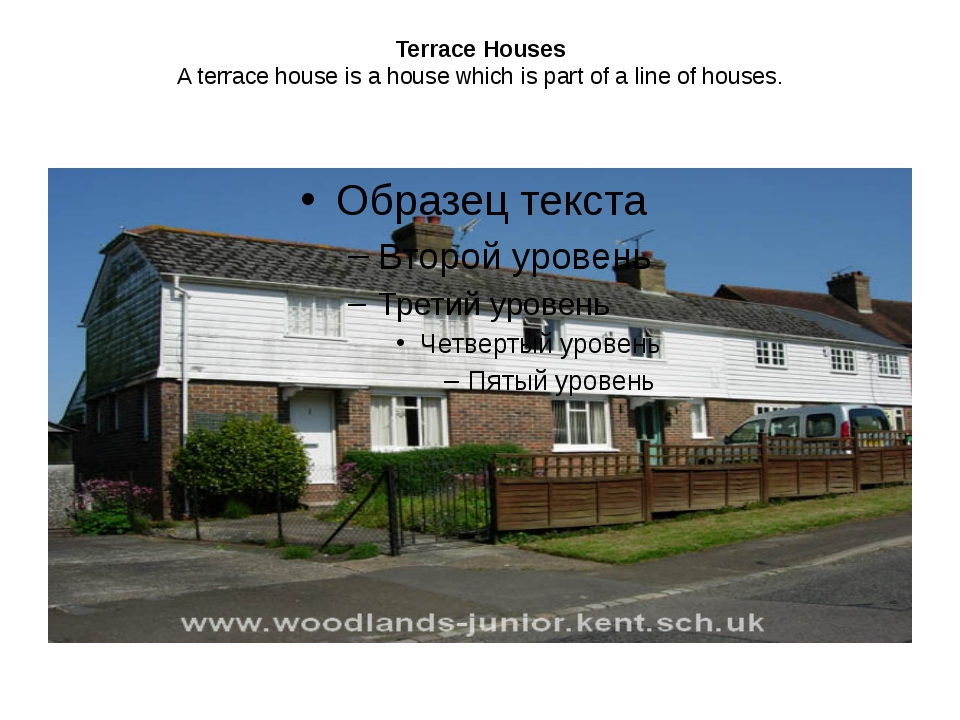 Terrace Houses A terrace house is a house which is part of a line of houses.