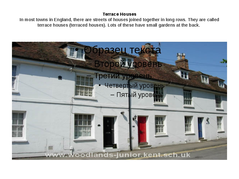 Terrace Houses In most towns in England, there are streets of houses joined t...