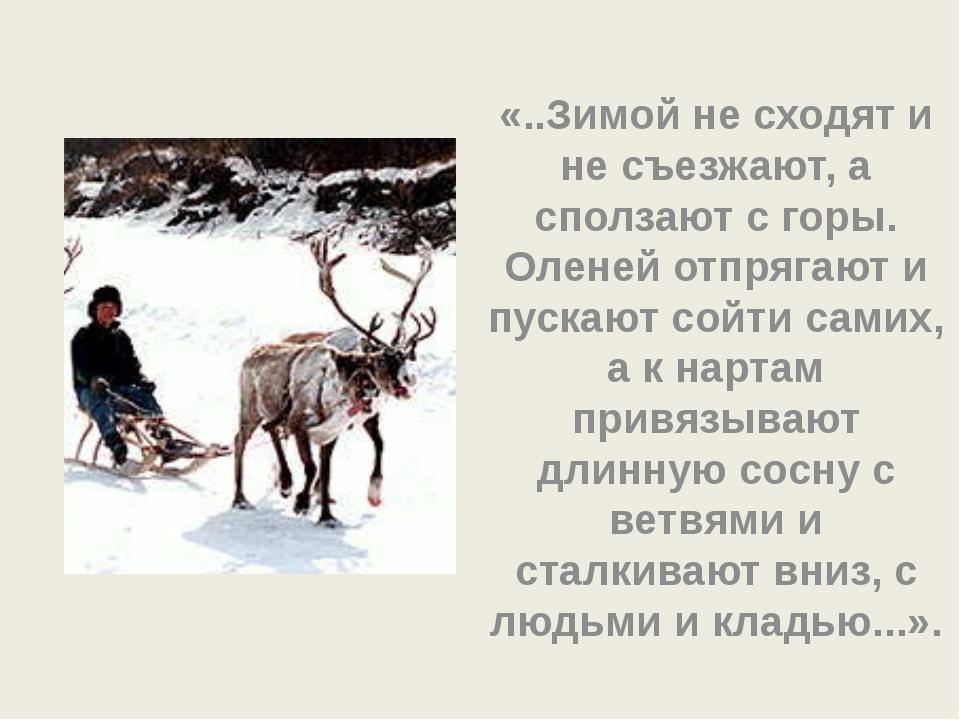 «..Зимой не сходят и не съезжают, а сползают с горы. Оленей отпрягают и пуска...