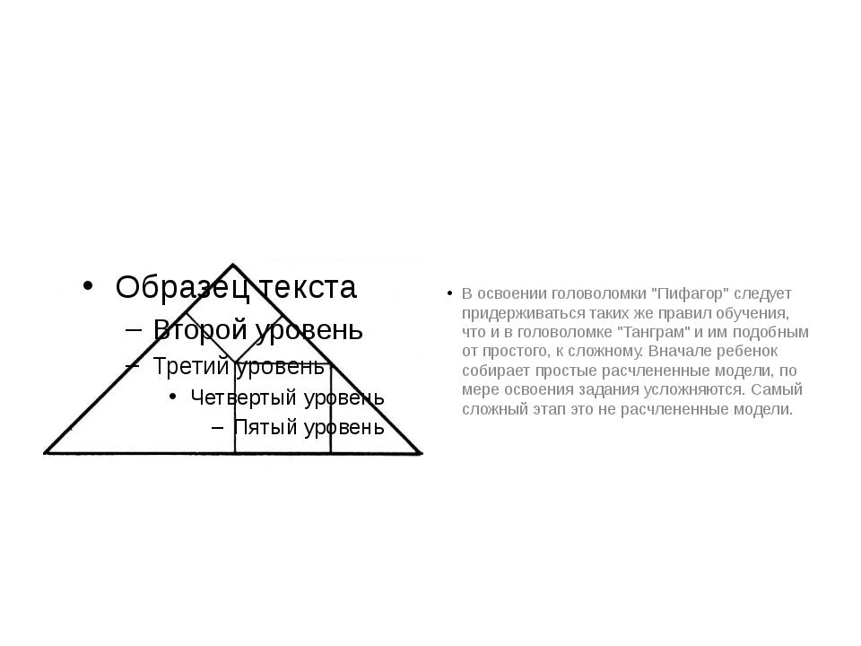 """В освоении головоломки """"Пифагор"""" следует придерживаться таких же правил обуч..."""