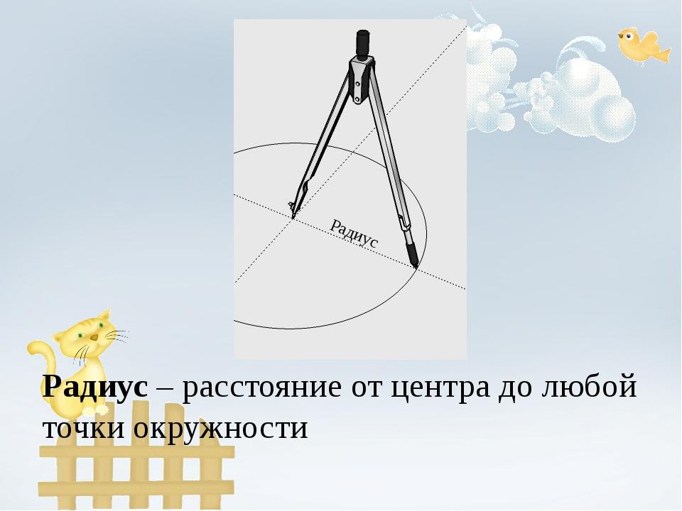 Радиус Радиус – расстояние от центра до любой точки окружности