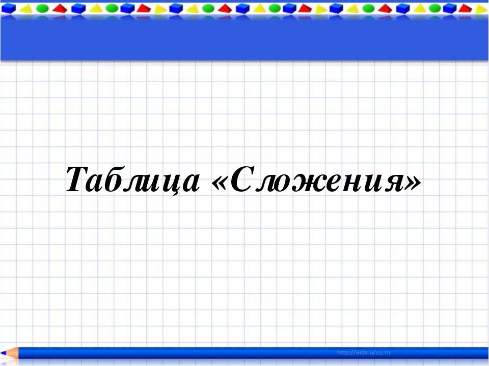Таблица «Сложения»
