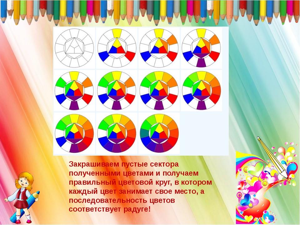 Закрашиваем пустые сектора полученными цветами и получаем правильный цветовой...