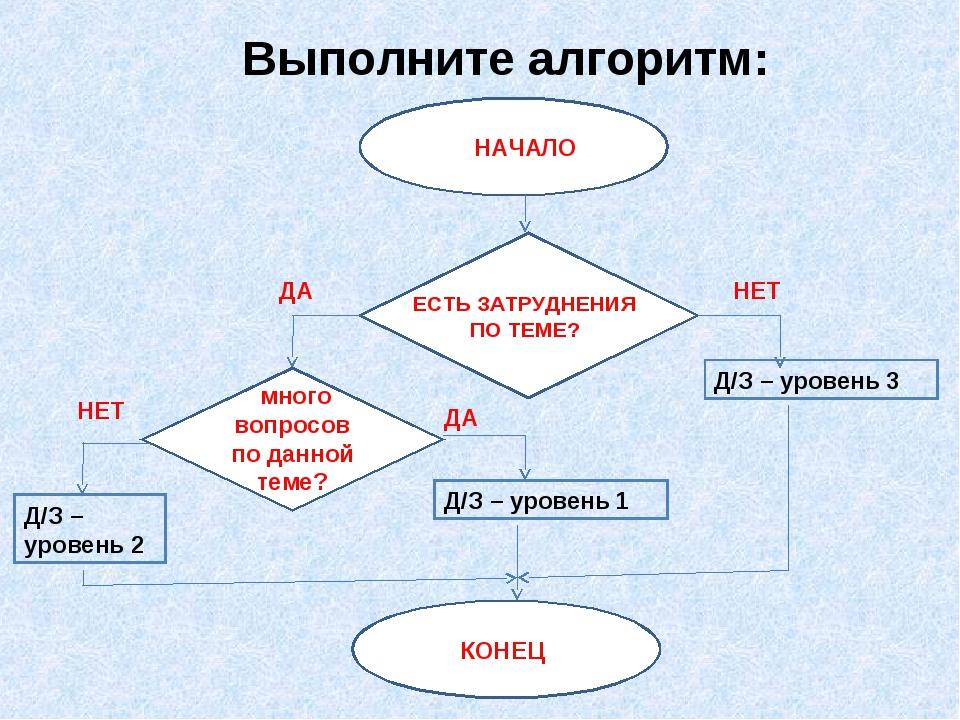 Выполните алгоритм: Д/З – уровень 2 КОНЕЦ