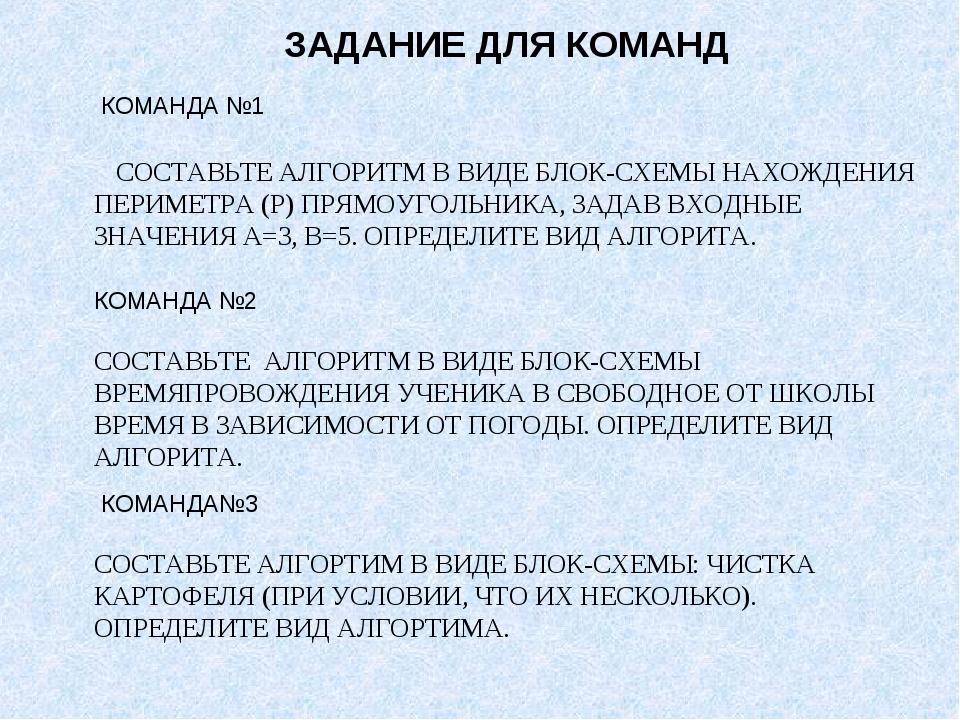 КОМАНДА №1 СОСТАВЬТЕ АЛГОРИТМ В ВИДЕ БЛОК-СХЕМЫ НАХОЖДЕНИЯ ПЕРИМЕТРА (Р) ПРЯ...