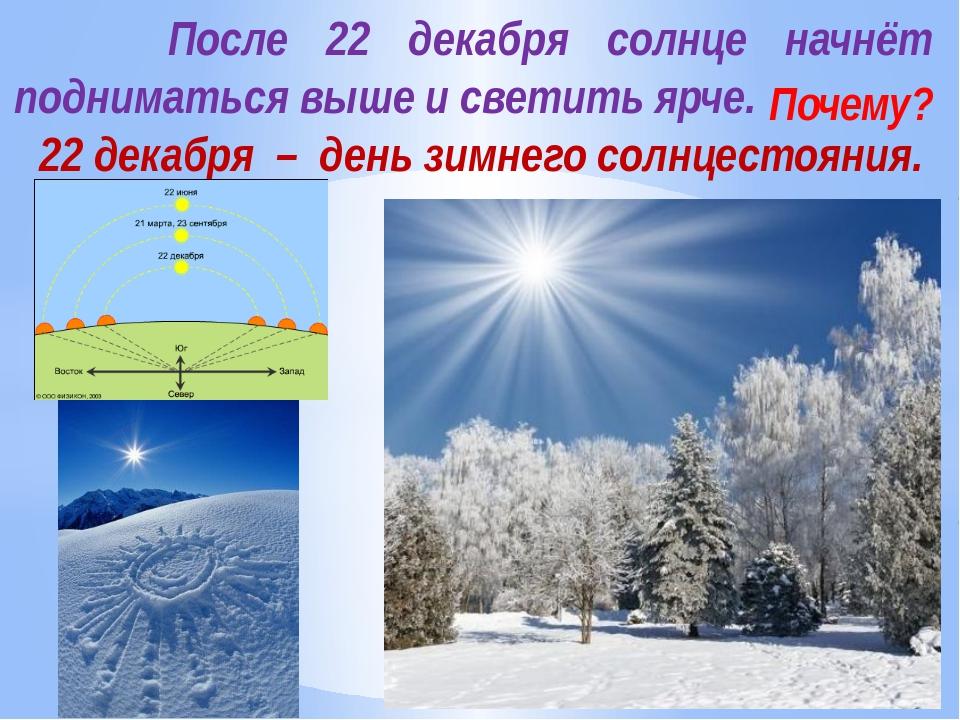 После 22 декабря солнце начнёт подниматься выше и светить ярче. Почему? 22 д...
