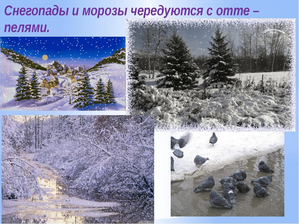 Снегопады и морозы чередуются с отте –пелями.