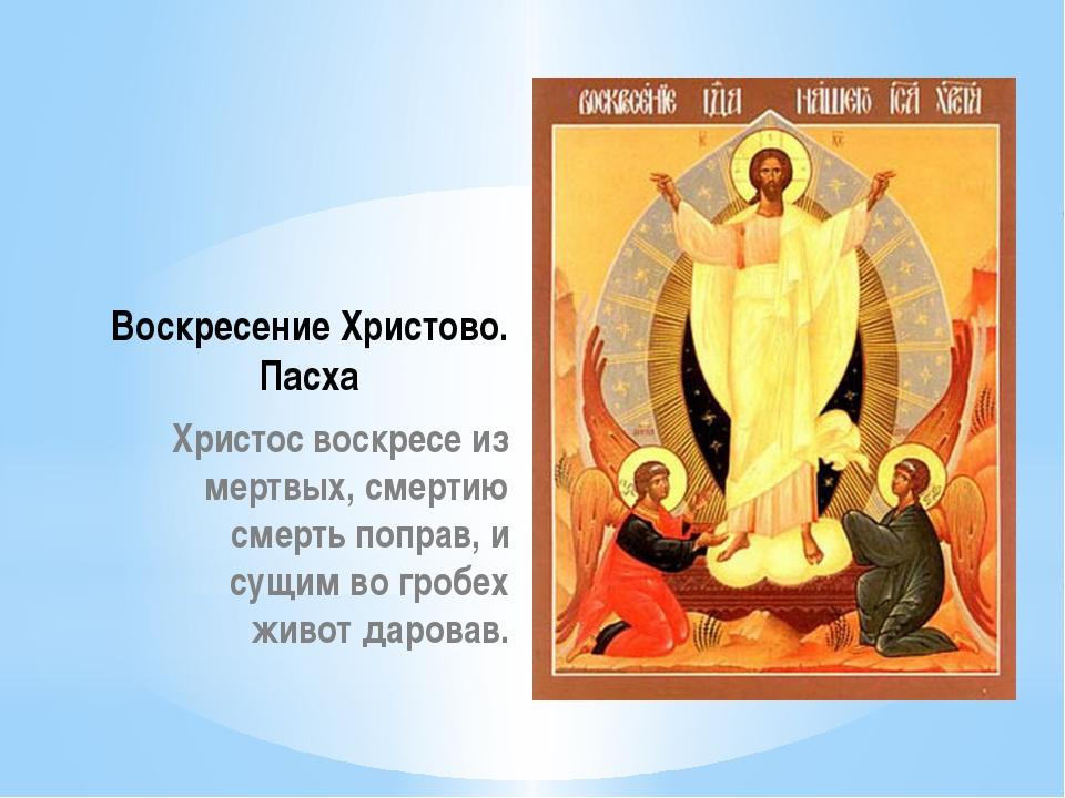 Воскресение Христово. Пасха Христос воскресе из мертвых, смертию смерть попра...
