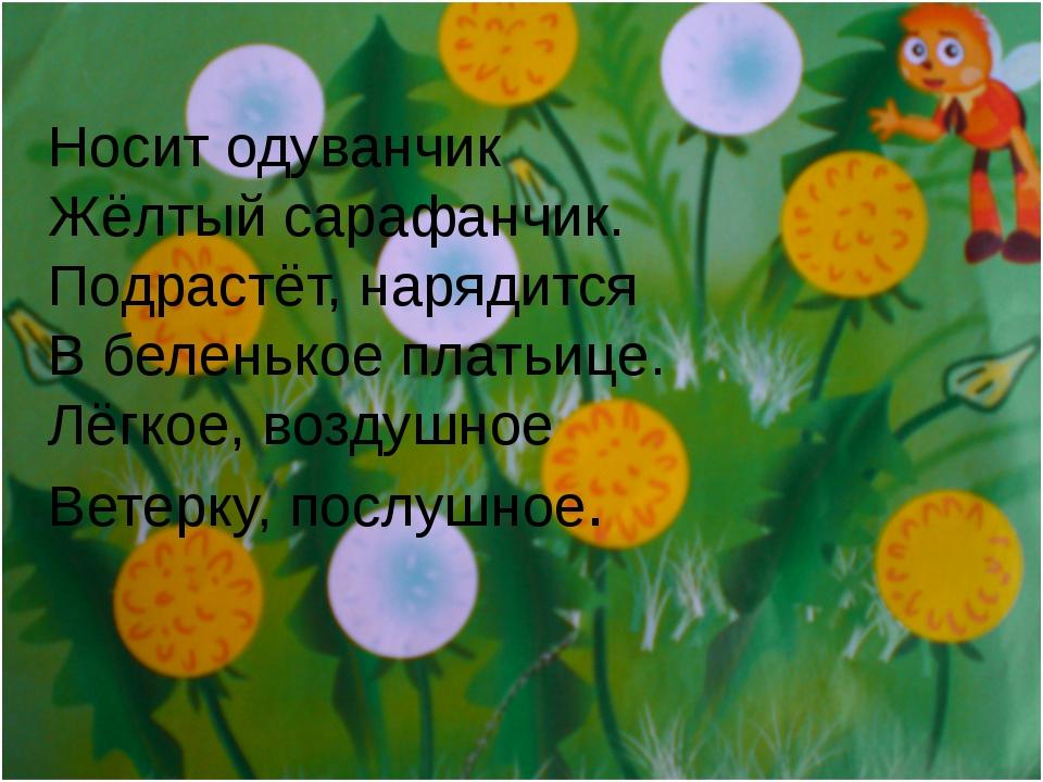 Носит одуванчик Жёлтый сарафанчик. Подрастёт, нарядится В беленькое платьице....