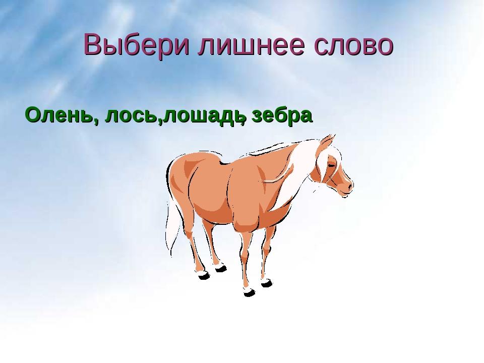 Выбери лишнее слово , зебра лошадь Олень, лось,