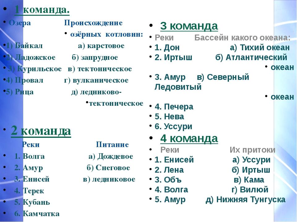 1 команда. Озера Происхождение озёрных котловин: 1) Байкал    а) карстово...