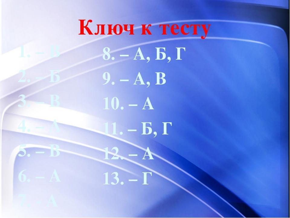 Ключ к тесту 1. – В 2. – Б 3. – В 4. – А 5. – В 6. – А 7. - А 8. – А, Б, Г 9....