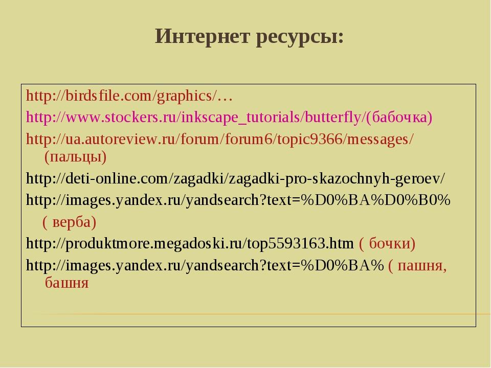 Интернет ресурсы: http://birdsfile.com/graphics/… http://www.stockers.ru/inks...
