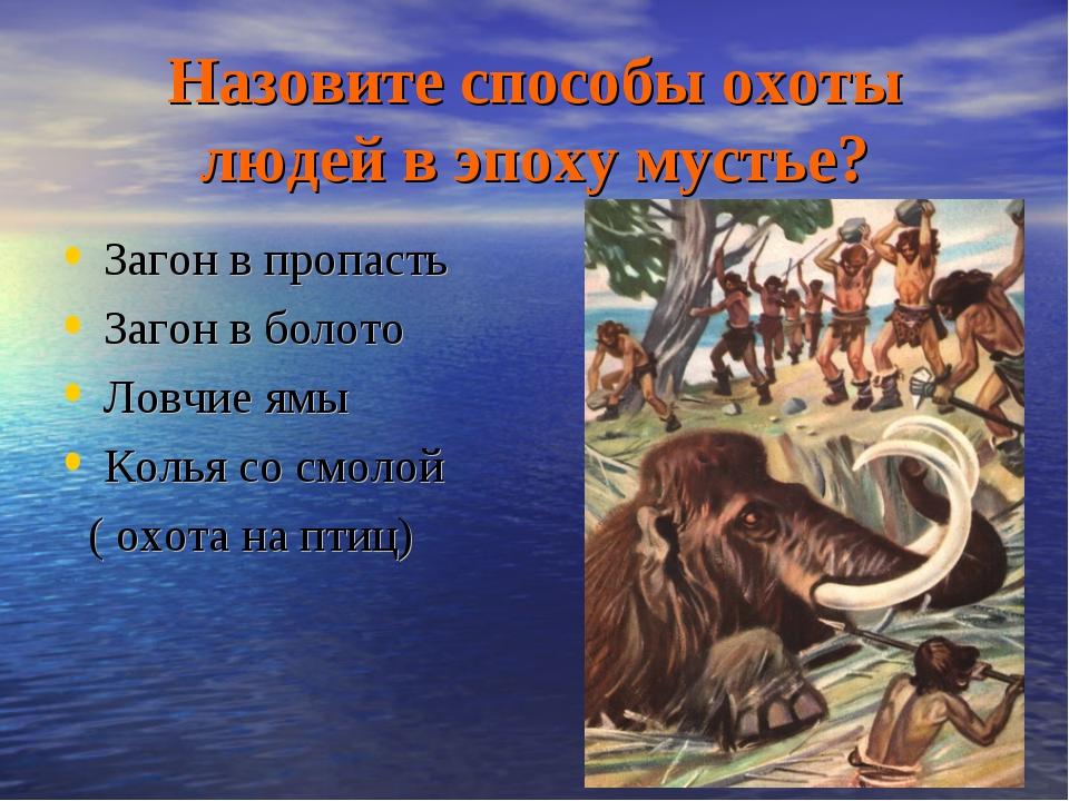 Назовите способы охоты людей в эпоху мустье? Загон в пропасть Загон в болото...