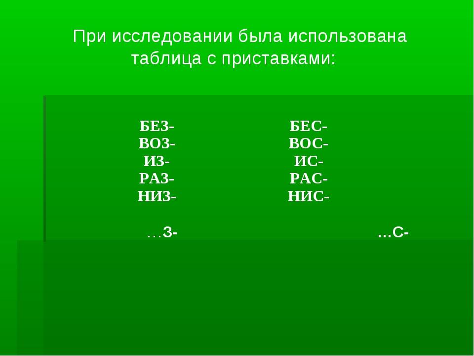 При исследовании была использована таблица с приставками: …З- …С- БЕЗ- ВОЗ-...