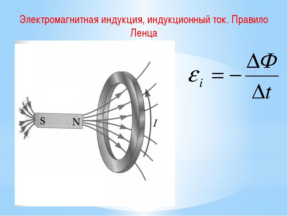 Электромагнитная индукция, индукционный ток. Правило Ленца