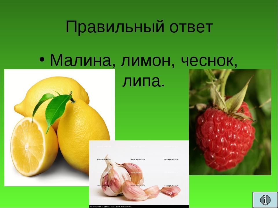 Правильный ответ Малина, лимон, чеснок, липа.