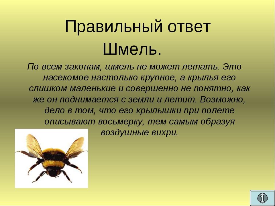 Правильный ответ Шмель. По всем законам, шмель не может летать. Это насекомое...
