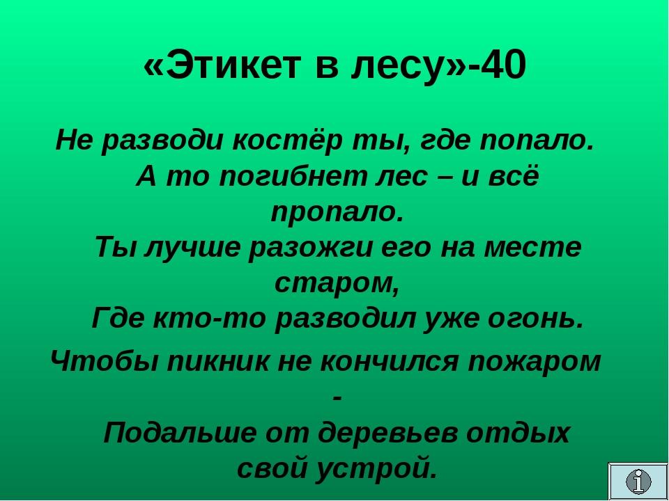 «Этикет в лесу»-40 Не разводи костёр ты, где попало. А то погибнет лес – и вс...