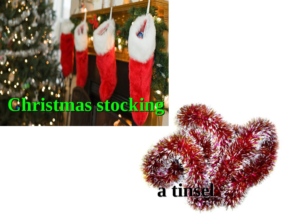 Christmas stocking a tinsel