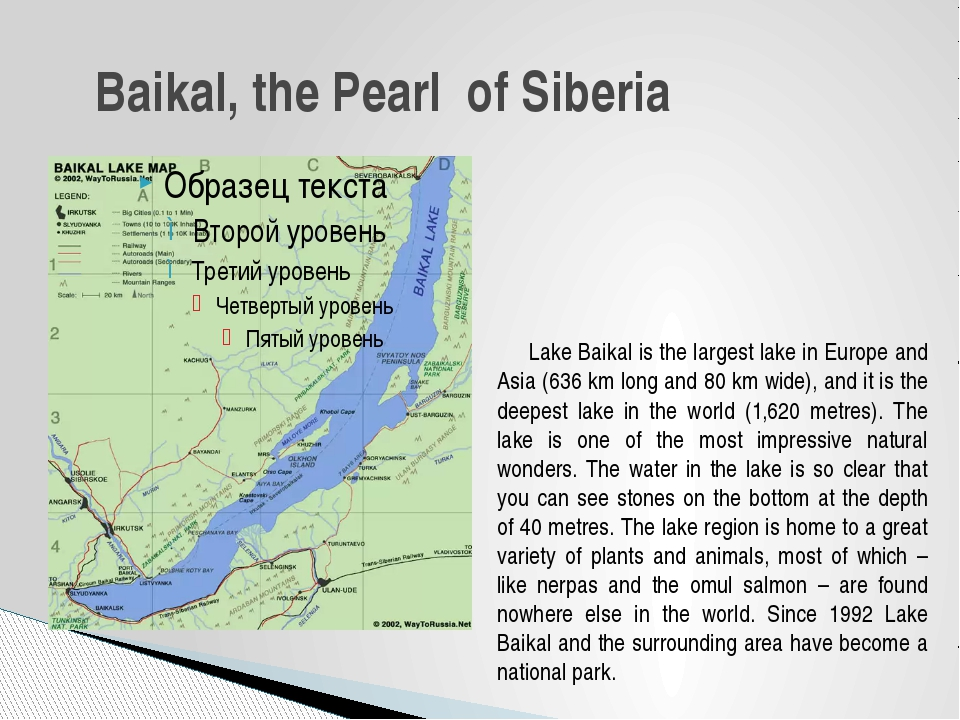 Lake Baikal is the largest lake in Europe and Asia (636 km long and 80 km wi...