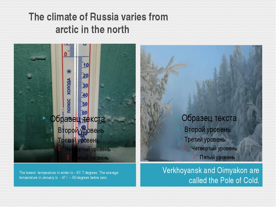 The climate of Russia varies from arctic in the north The lowest temperature...