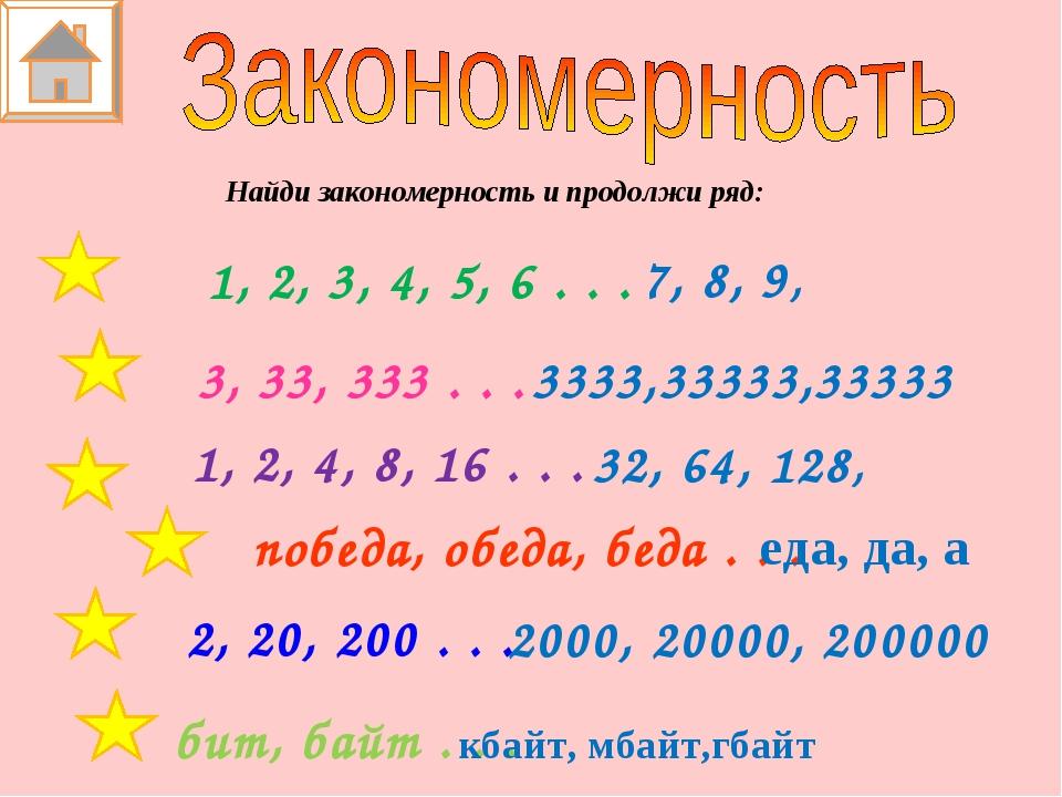 Найди закономерность и продолжи ряд: 7, 8, 9, 3333,33333,33333 32, 64, 128, е...