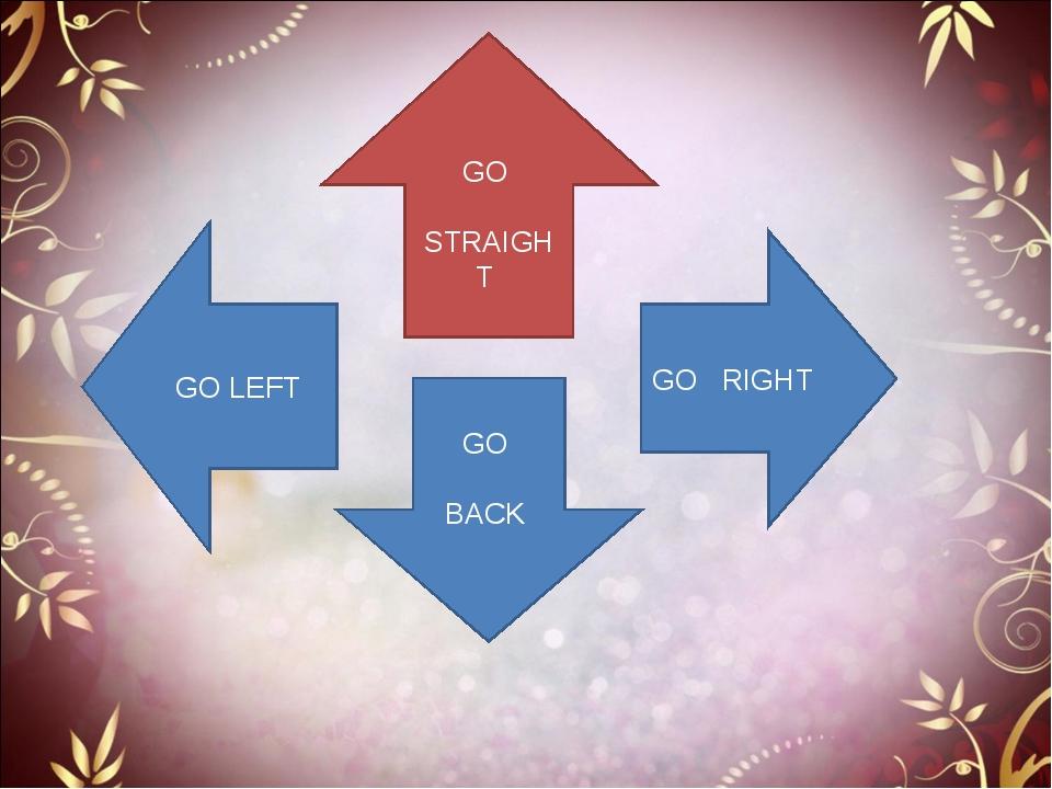 GO STRAIGHT GO BACK GO LEFT GO RIGHT