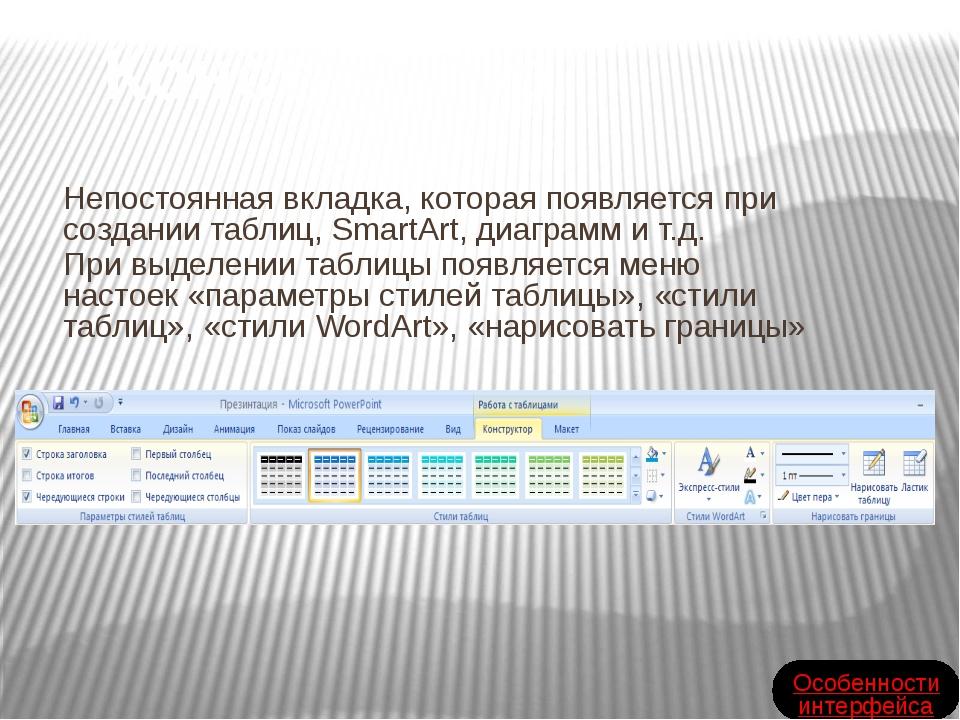 Непостоянная вкладка, которая появляется при создании таблиц, SmartArt, диаг...