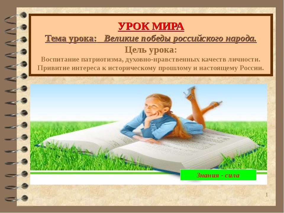 * УРОК МИРА Тема урока: Великие победы российского народа. Цель урока: Воспит...