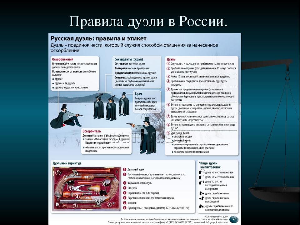 Правила дуэли в России.