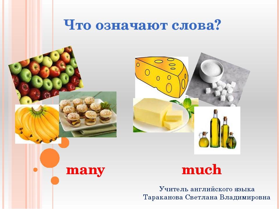 Что означают слова? many much Учитель английского языка Тараканова Светлана В...