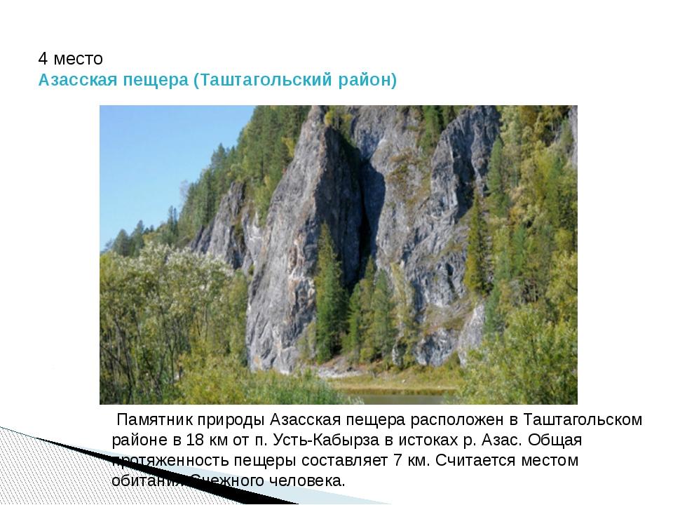 4 место Азасская пещера (Таштагольский район) Памятник природы Азасская пещер...