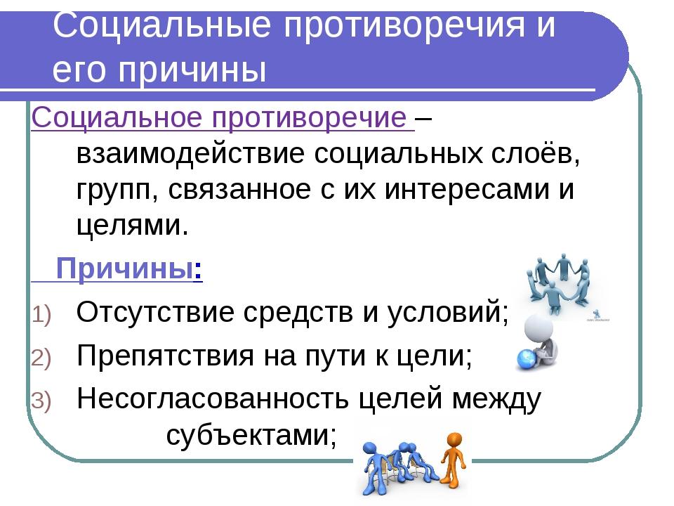 Социальные противоречия и его причины Социальное противоречие – взаимодействи...