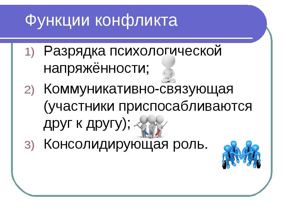 Функции конфликта Разрядка психологической напряжённости; Коммуникативно-связ...