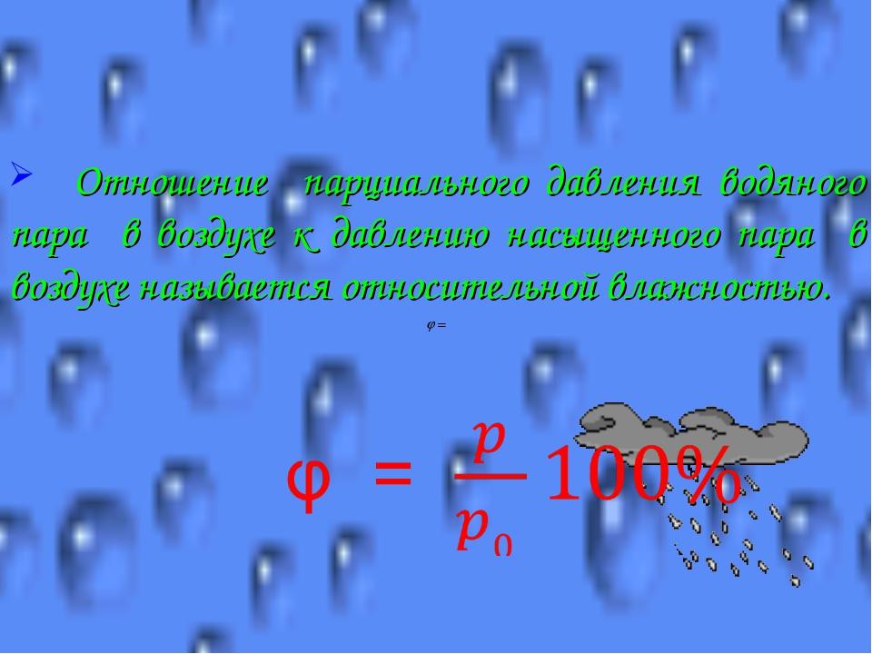 Отношение парциального давления водяного пара в воздухе к давлению насыщенно...