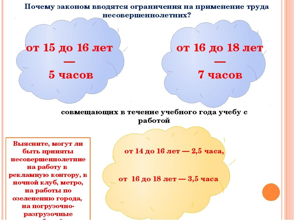 от 15 до 16 лет — 5 часов от 16 до 18 лет — 7 часов от 14 до 16 лет — 2,5 ча...