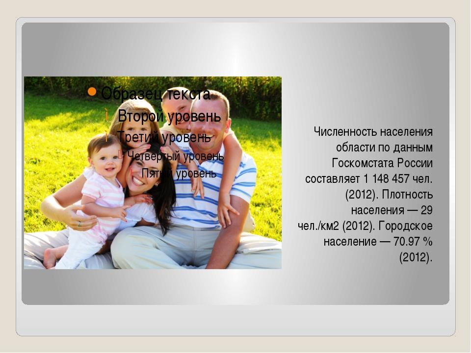 Численность населения области по данным Госкомстата России составляет 11484...