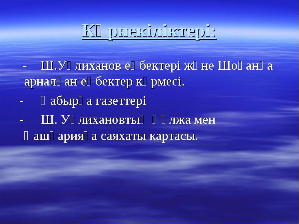 Көрнекіліктері: - Ш.Уәлиханов еңбектері және Шоқанға арналған еңбектер көрмес...