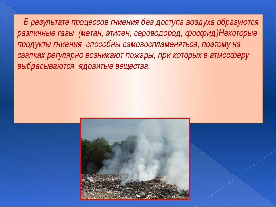 В результате процессов гниения без доступа воздуха образуются различные газы...