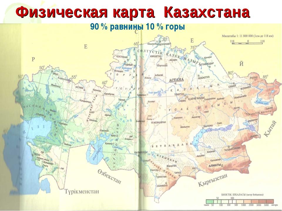 Физическая карта Казахстана 90 % равнины 10 % горы