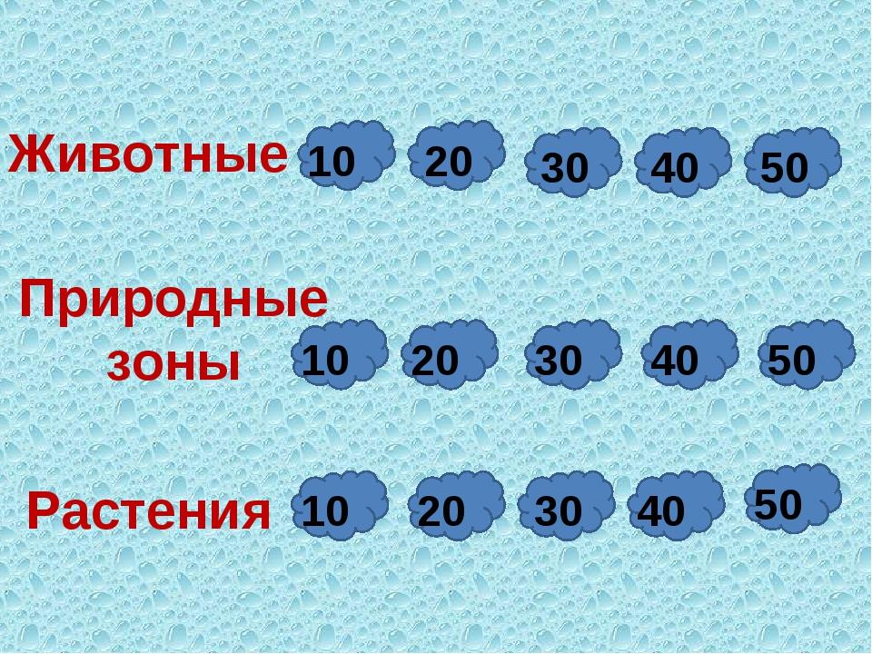 Растения Животные 10 10 20 20 30 30 40 40 50 50 Природные зоны 10 20 30 40 50